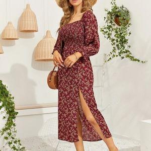 Floral split-thigh Shirred Bodice Dress
